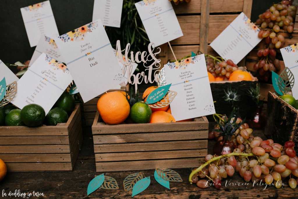allestimento floreale frutta matrimonio autunno