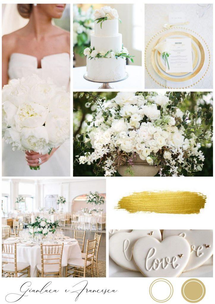 matrimonio autunnale bianco e oro