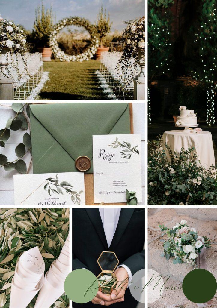 matrimonio autunnale greenery bianco e verde