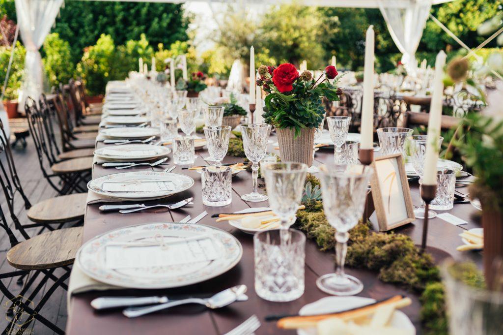 Tavoli imperiali in stile boho chic per il matrimonio